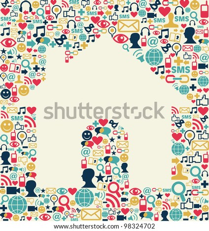 Social media icons set texture with house shape composition background.