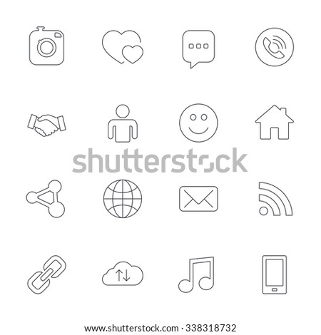 Social media icons. Speech bubble, lovers relationships and human person. Rss, share and mail envelope. Musical note, smartphone and smile. Outline line icons on white background.