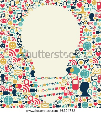 Social media icons texture with lamp shape composition background.