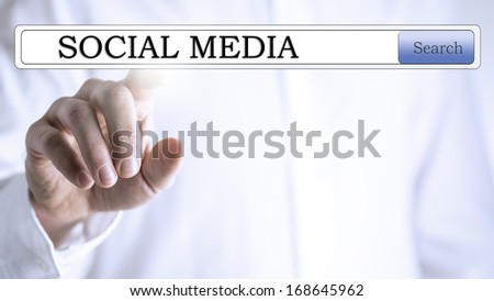 Social media in search box on virtual screen. - stock photo