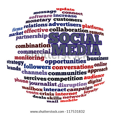 Social media info-text graphics and arrangement concept (word cloud) on white background - stock photo
