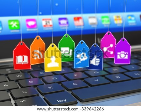 Social media internet communication concept. Laptop and signs of apps on the labels. 3d - stock photo
