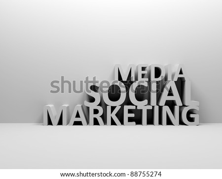 Social media marketing 3d words - stock photo