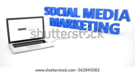 Social Media Marketing - laptop notebook computer connected to a word on white background. 3d render illustration. - stock photo
