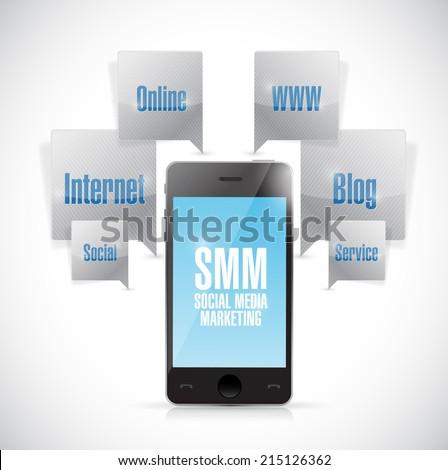 social media marketing phone concept illustration design over a white background - stock photo
