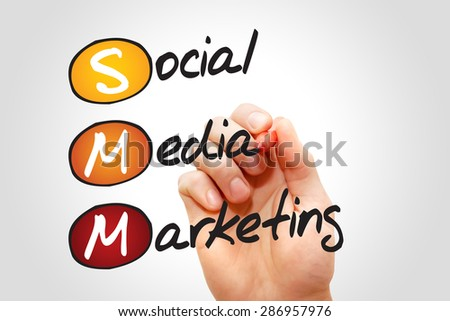 Social Media Marketing (SMM), business concept acronym - stock photo