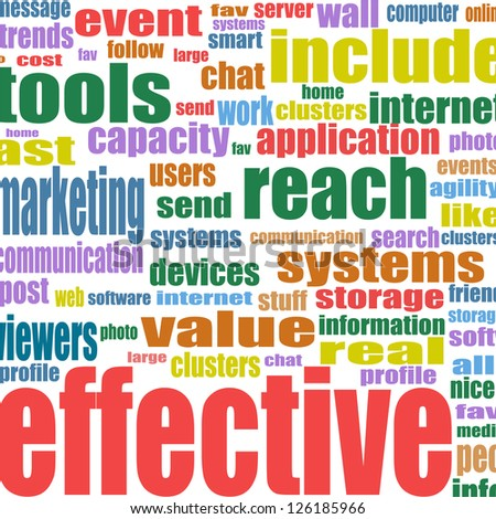 Social media marketing word cloud, raster - stock photo