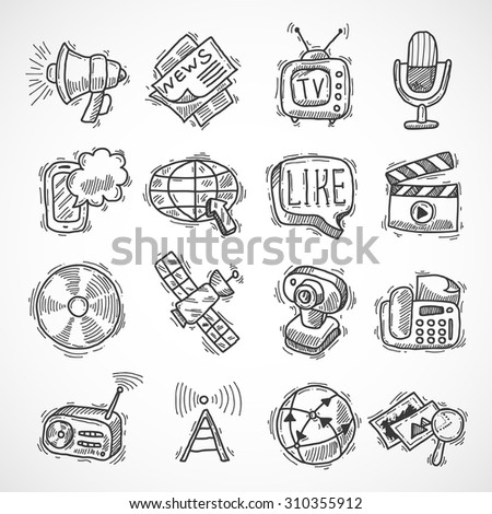 Social media mobile communication technologies hand drawn icons set isolated  illustration - stock photo