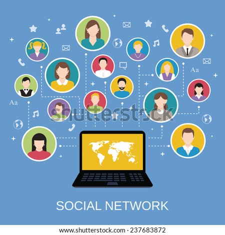 Social media network concept with male and female avatars connected via laptop  illustration - stock photo