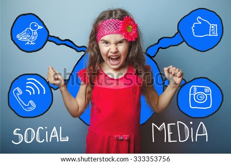 social media network  infographics set sketch teen screaming angry clenched her fists - stock photo