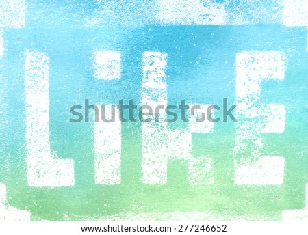 Social media networking concept: pixelated sign with Like text word isolated on textured background - stock photo