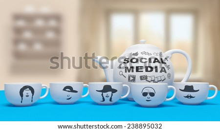 Social media networking online concept: cups with faces and teapot with web icons and word as symbol of human communication on internet using social network services for sharing of information - stock photo