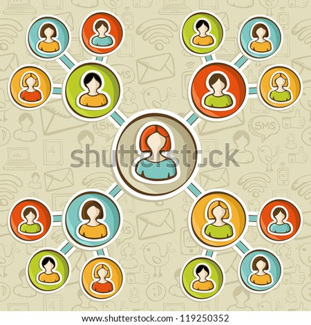 Social media networks online marketing relationship diagram over sketch icons pattern. User people connected to each other. - stock photo