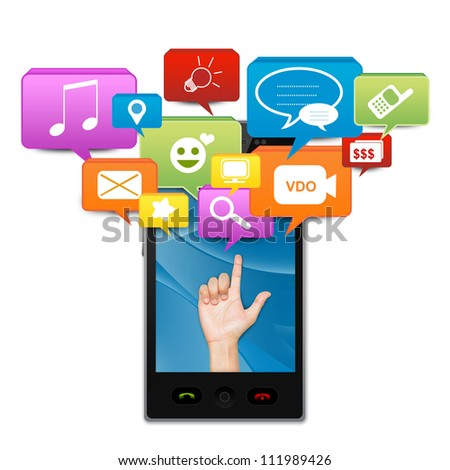 Social Media On Mobile Concept Present By Hand With Social Media Icon Above On Smart Mobile Phone Screen Isolate on White Background