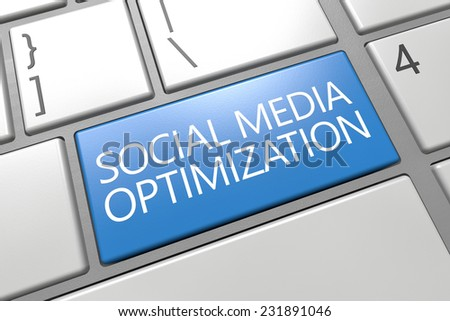 Social Media Optimization - keyboard 3d render illustration with word on blue key - stock photo