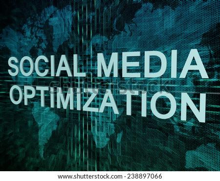 Social Media Optimization text concept on green digital world map background  - stock photo