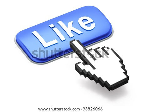 Social media or social network concept: Hand-shaped mouse cursor press Like button on white background - stock photo