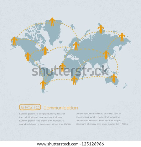 Social media people communication on the world - stock photo