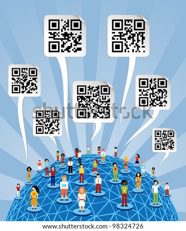 Social media people network connection concept with social QR codes in bubbles speech over World globe. - stock photo