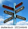 Social Media Signpost Showing Information Support And Communication - stock photo