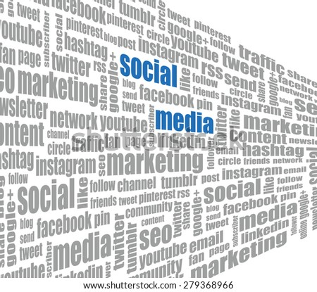 Social media tag cloud - stock photo