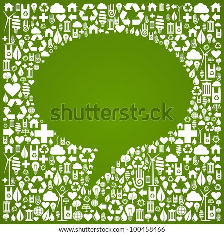 Social media talk bubble over green icon background. - stock photo
