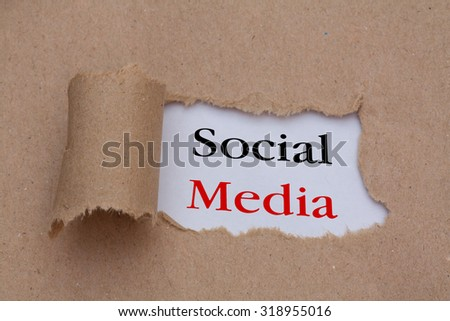 Social media text concept,torn brown paper - stock photo