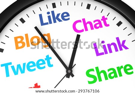 Social media time management and web strategy concept with a clock and social network word and sign printed in multiple colors 3d render image. - stock photo