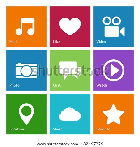 Social media user interface flat elements of favorites bookmarks and user preferences isolated  illustration - stock photo
