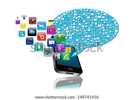 Social media with smartphone  colorful application icon,isolated on white background