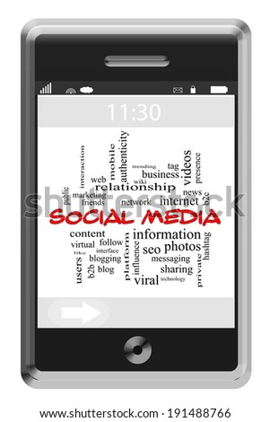 Social Media Word Cloud Concept on a Touchscreen Phone with great terms such as follow, sharing, internet and more. - stock photo