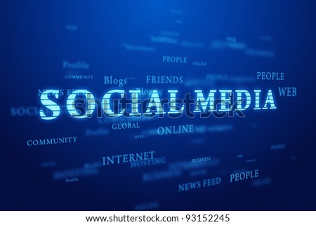 Social media. Words cloud on deep blue background.