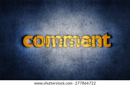 "Social media yellow ""comment"" 3D text on grunge blue background. - stock photo"