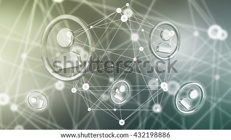 Social nets and networking concept .3D rendering
