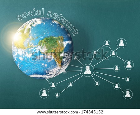 """social network and globe on Blackboard background """"Elements of this image furnished by NASA"""" - stock photo"""
