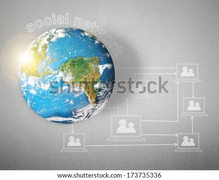 """social network and globe on gray background """"Elements of this image furnished by NASA"""" - stock photo"""