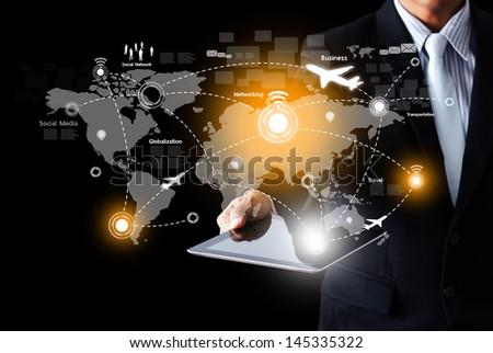 Social network and Modern communication technology - stock photo