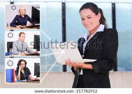 social network concept - business woman and her partners or colleagues - stock photo