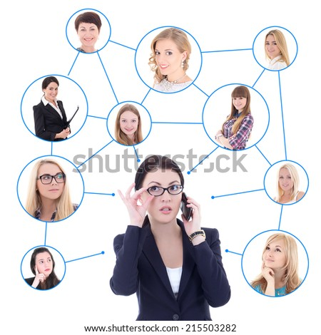 social network concept - business woman with mobile phone and her clients isolated on white background