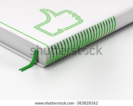 Social network concept: closed book, Thumb Up on white background - stock photo