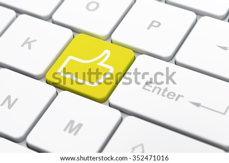 Social network concept: computer keyboard with Thumb Up icon on enter button background, selected focus, 3d render - stock photo