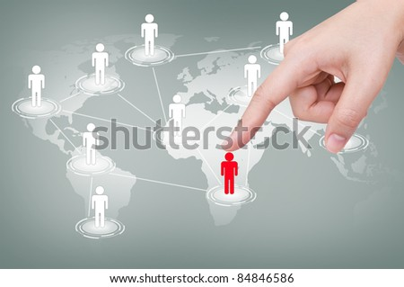 Social Network concept : hand point to social network and world map - stock photo