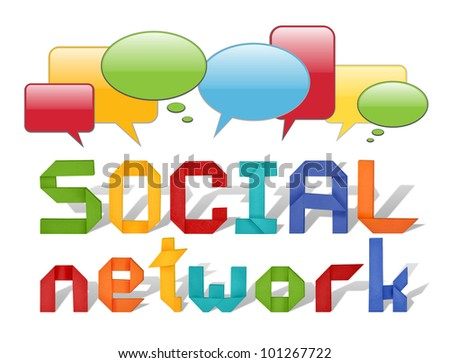 social network concept illustration with origami letters and with speech bubbles isolated on white - stock photo