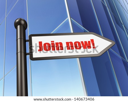 Social network concept: Join now! on Building background, 3d render - stock photo