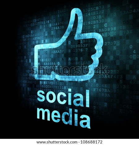 Social network concept: Like and words Social media on digital background on digital screen, 3d render - stock photo