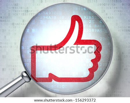 Social network concept: magnifying optical glass with Like icon on digital background, 3d render - stock photo