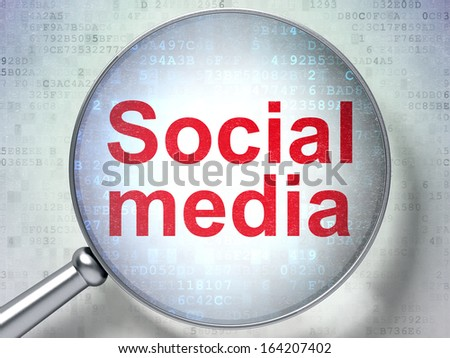 Social network concept: magnifying optical glass with words Social Media on digital background, 3d render - stock photo
