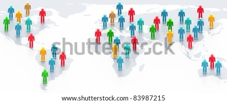 Social network concept: multicolor people over world map - stock photo