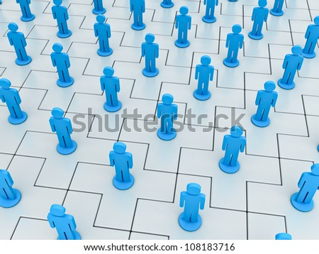 Social network concept on white plus jigsaws - stock photo