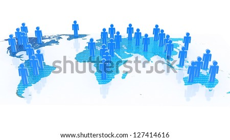 Social network concept on world globe, 3D images - stock photo